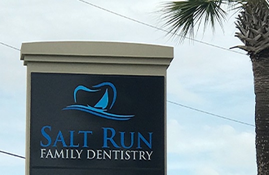 Salt Run Family Dentistry sign in front of dental office building