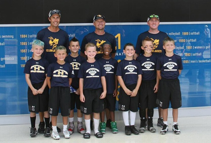 Youth baseball players and coaches